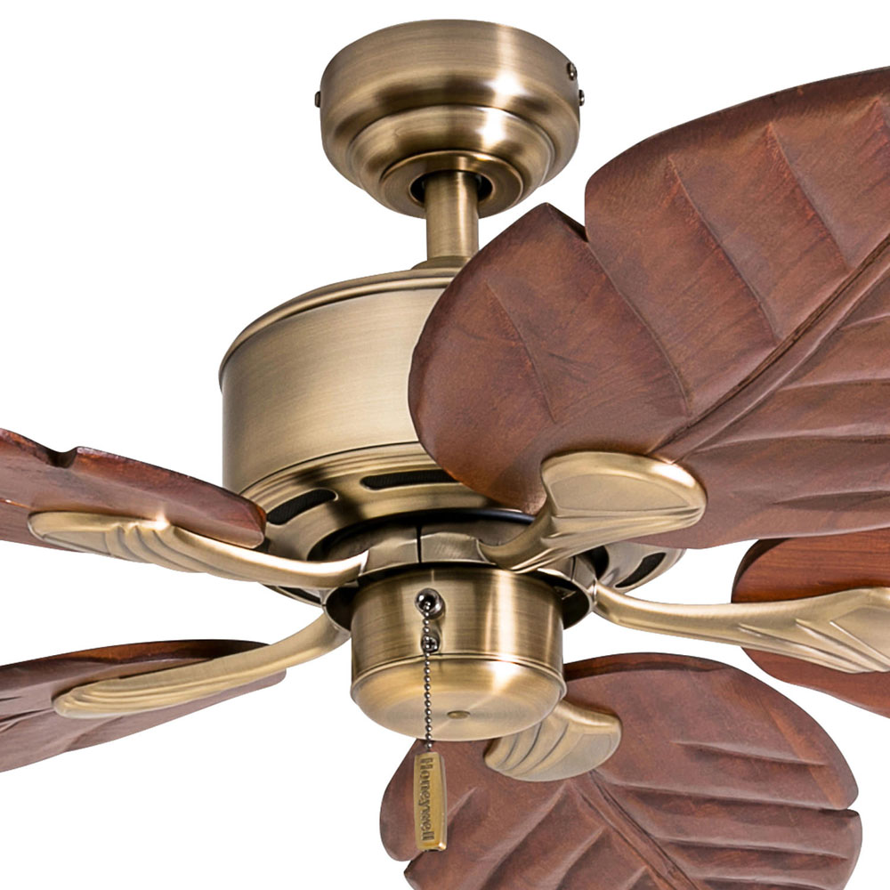 Honeywell Willow View 52-Inch Brass Tropical Ceiling Fan, Hand Carved Blades - 50502-03