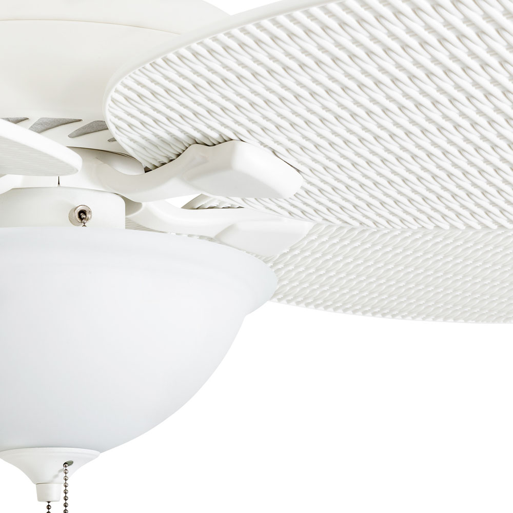 Honeywell Palm Island 52-Inch White Tropical LED Ceiling Fan with Light, Palm Leaf Blades - 50508-03