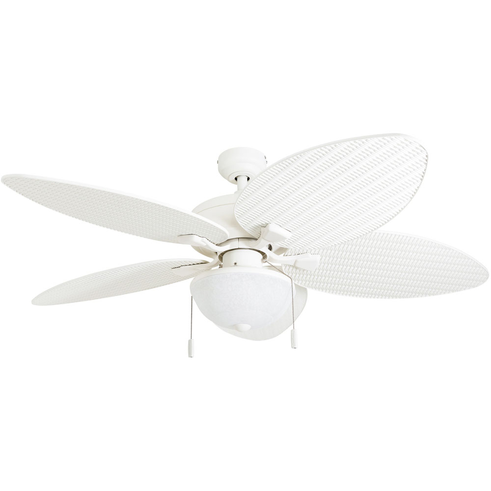 Honeywell Inland Breeze 52-Inch White Outdoor LED Ceiling Fan with Light, Plastic Wicker Blades - 50511-03