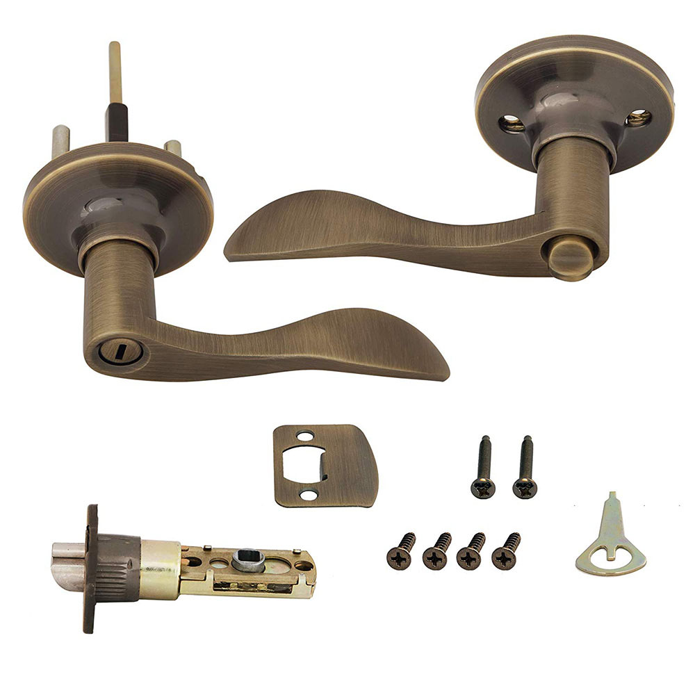 Honeywell Wave Privacy Door Lever, Antique Brass, 8106102