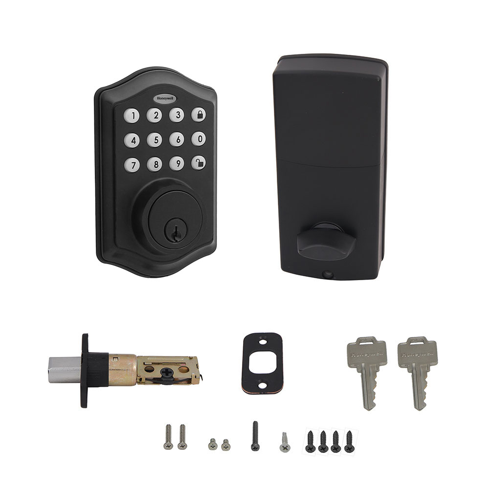 Honeywell Digital Deadbolt with Passage Knob, Matte Black, 8732505