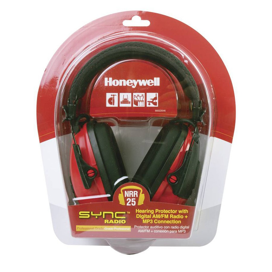 Honeywell Digital AM/FM RadioHearing protector (Earmuff), with an AUX input jack (Red/Black) - RWS-53012