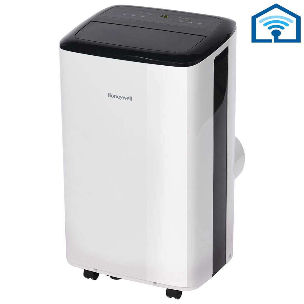 Honeywell HF08CESVWK Smart WiFi Portable Air Conditioner with Alexa Voice Control & Dehumidifier, 8,000 BTU Cooling (White-Black)