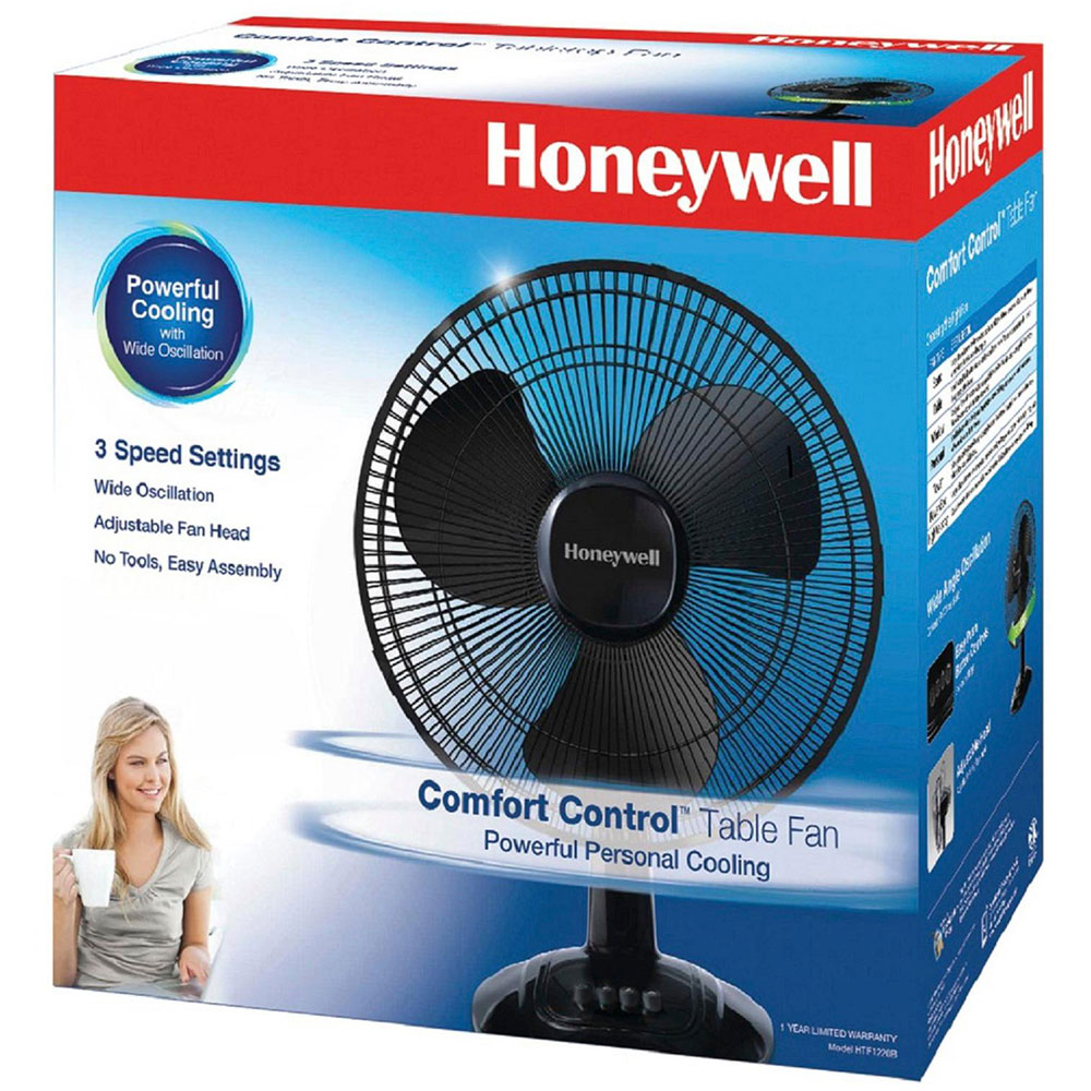 Honeywell 12 in. Oscillating Table  Fan, Black - HTF1220B