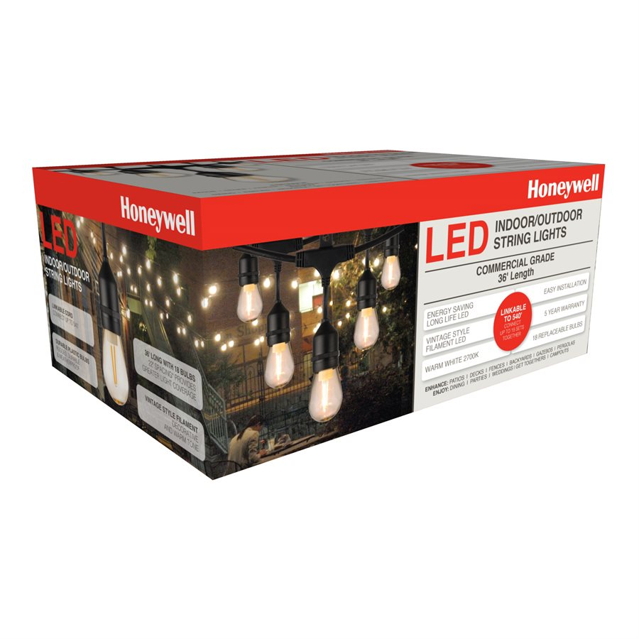 Honeywell 36 Foot Replaceable Filament Style Amber LED String Light Set, SW136A221110
