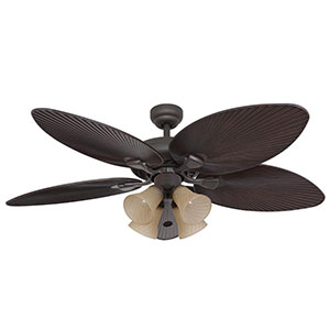 Honeywell 4-Light Palm Island Ceiling Fan, Bronze Finish, 52 Inch - 50203