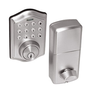 Honeywell Electronic Deadlbolt Door Lock with Keypad in Satin Nickel, 8712309