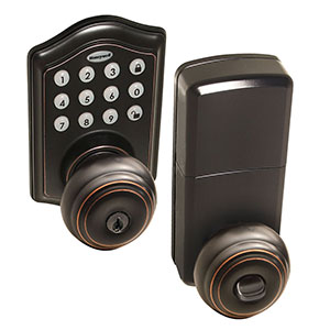 Honeywell Electronic Entry Knob Door Lock with Keypad Bronze, 8732401