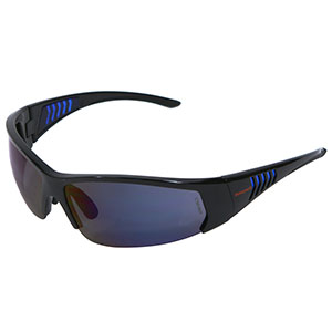 Honeywell HS100 Safety Eyewear, Gloss Black Frame, Blue Mirror Lens- RWS-51066
